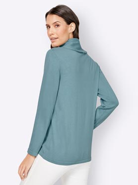 Pull col roulé turquoise fo