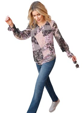 Kaschierende Chiffonbluse in Patchwork-Optik