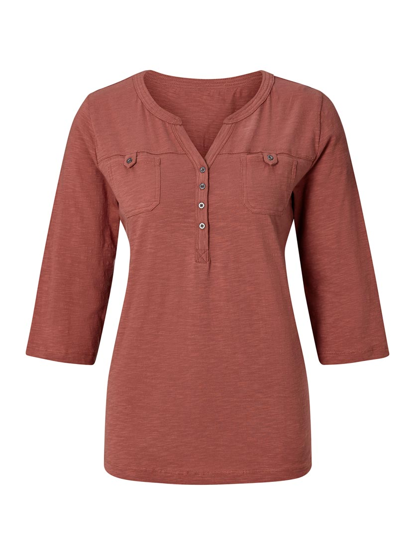 T-shirt simple patte boutonnage poches poitrines
