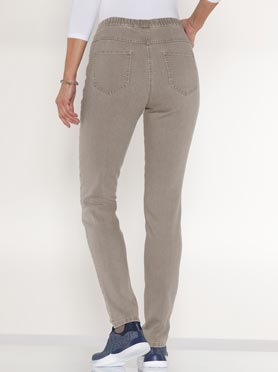 Jegging femme 2 poches coupe slim taupe