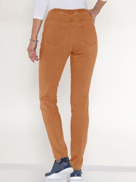 Jegging femme 2 poches coupe slim couleur terre cuite