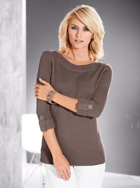 Pull femme manches 3/4 revers boutonnés taupe chine