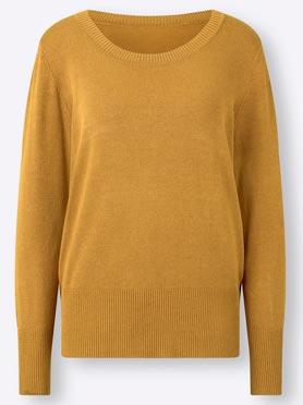 Pull col rond jaune curry