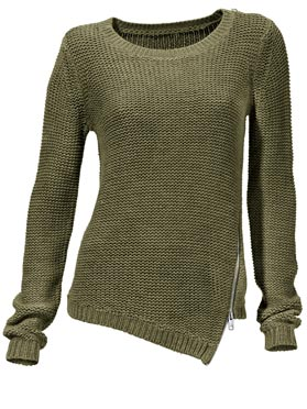Pull col rond vert olive