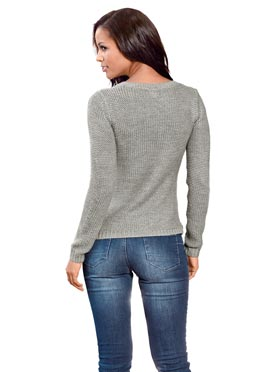 Pull col rond gris-chine