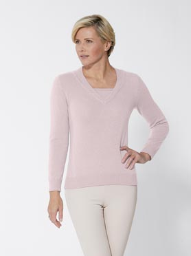 Pull cachemire rose chiné