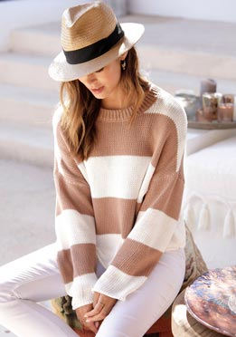 Pull col rond taupe-crème à rayures