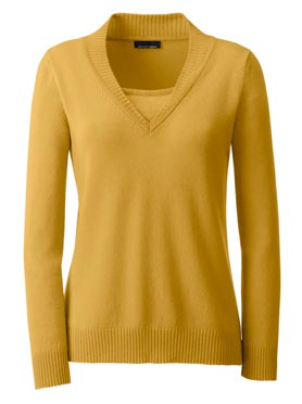 Pull cachemire ocre-chiné