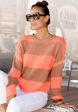 Pull col rond taupe-corail à rayures